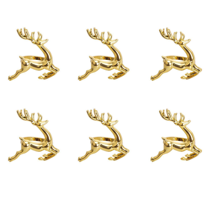 Nrpfell Anelli Portatovaglioli, 6 PZ Anelli di Tovagliolo Chic Oro Elk per Impostazioni del Luogo, Ricevimenti Nuziali, Natale, Ringraziamento E Accessori per Tavola da Pranzo della Cucina di Casa