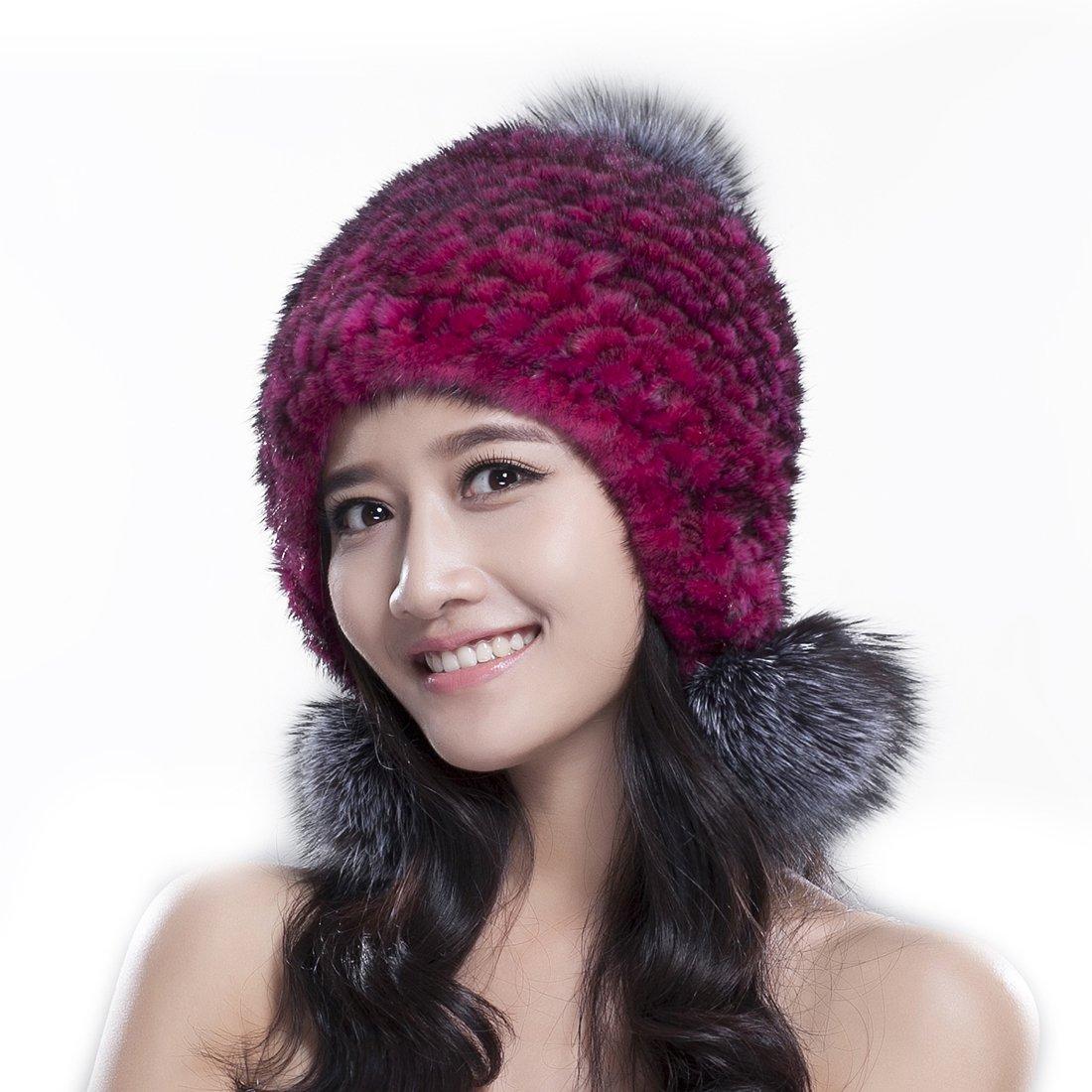 URSFUR Knit Mink Fur Bonnet Hat with Fox Fur Pom Poms (One Size Fits All, Rose Red)