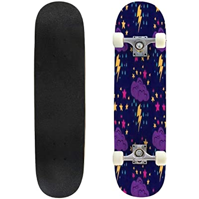 Classic Concave Skateboard Seamless Pattern in The Form of Thunderstorms Seamless Pattern with Longboard Maple Deck Extreme Sports and Outdoors Double Kick Trick for Beginners and Professionals : Sports & Outdoors