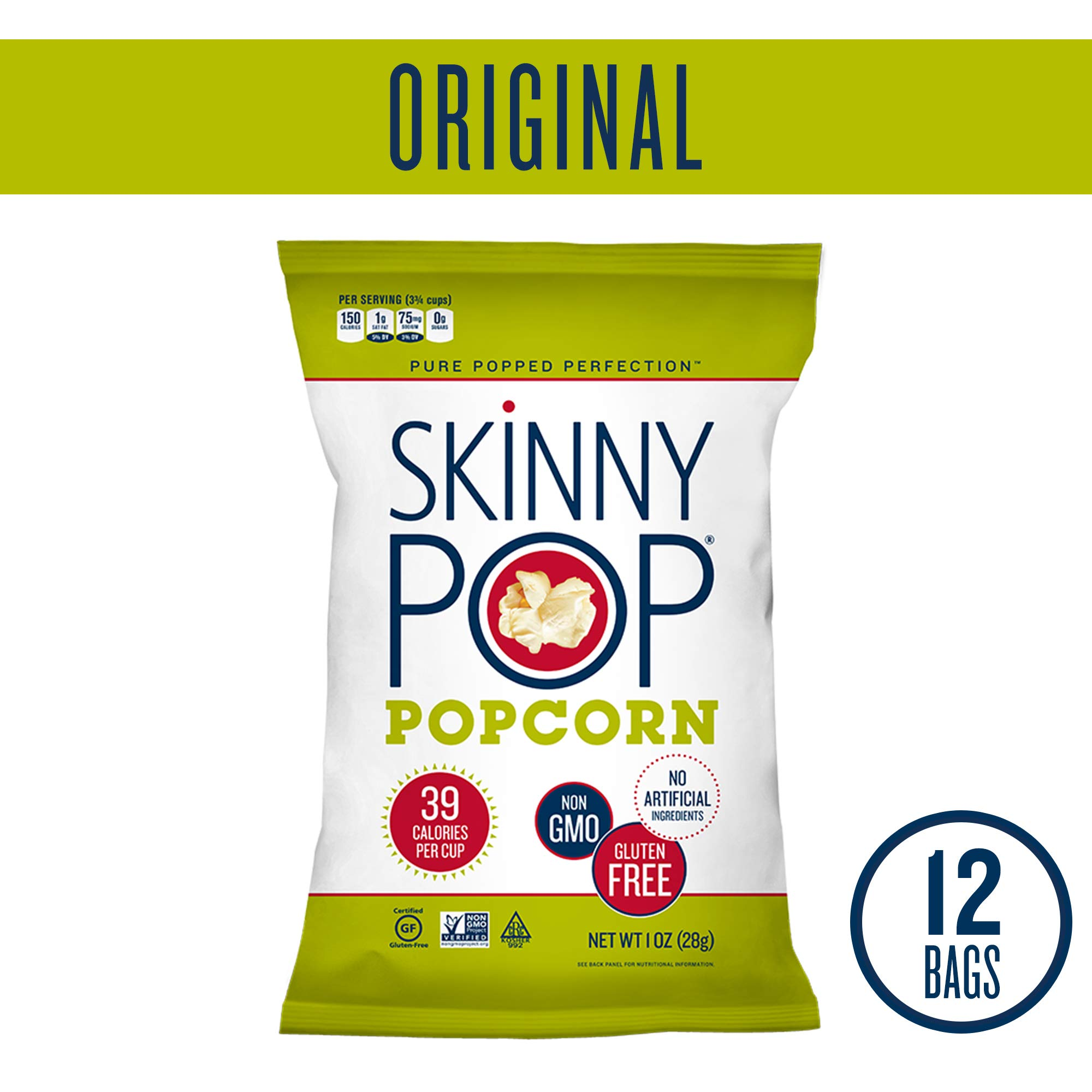 SKINNYPOP Original Popped Popcorn, Individual Bags, Gluten Free Popcorn, Non-GMO, No Artificial Ingredients (Pack of 12) by SkinnyPop