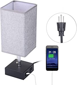 TOMSHOO Bedside Table Lamp, USB Table Lamp Modern Nightstand Desk Lamp with Dual 2.1A USB Charging Ports & Dual Outlet Sockets for Bedroom Living Room Children Room Office