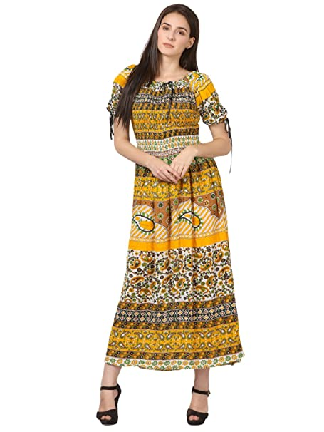 facde908e81 Saadgi Women's Viscose Rayon Rajasthani Printed Multicolored Stretchable  Smoky Elastic Long Maxi Dress (Yellow, 3XL)