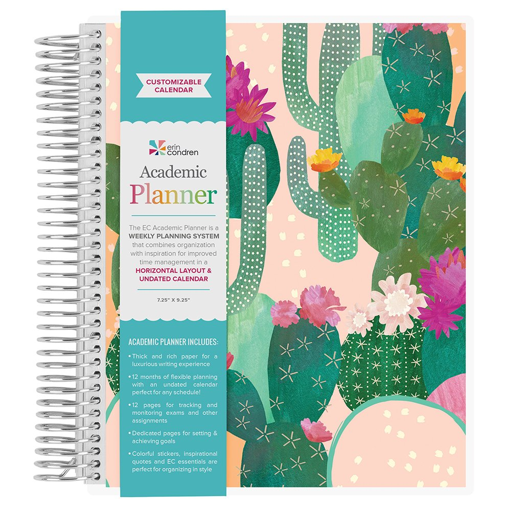 Amazon.com : Erin Condren School Planner Pack: Undated Academic Planner, Designer Date Dots Stickers, Classic Dual Tip Markers 3-Pack, 3D Puffy Sticker ...