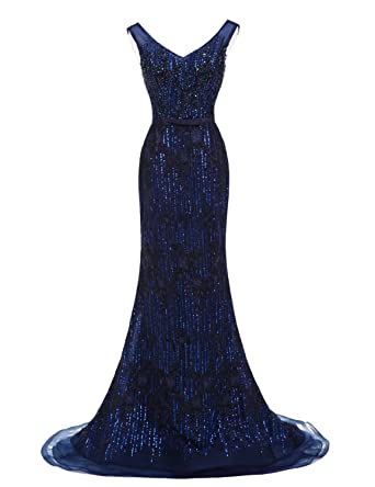 ef4efc0d77 Sarahbridal Womens Mermaid Evening Dresses Beaded Sequin Long Formal Prom  Gowns