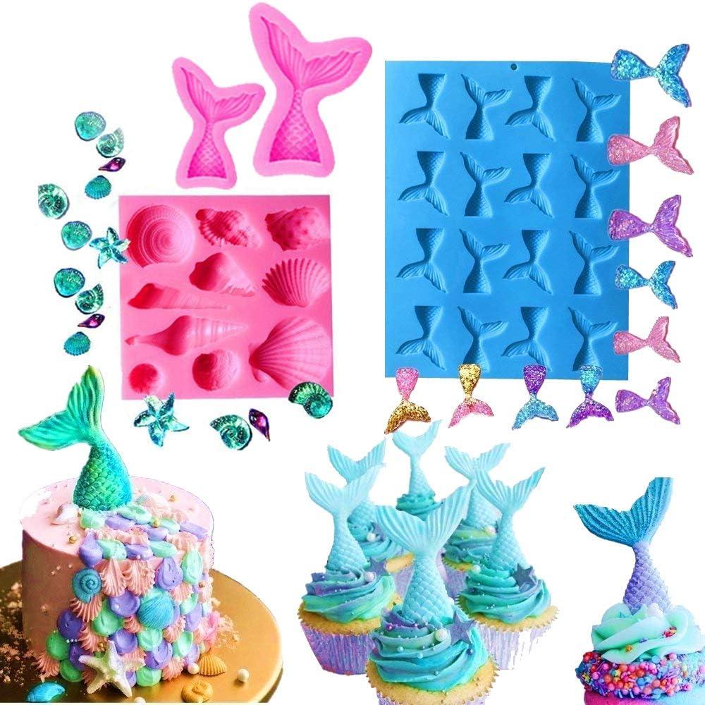 JeVenis - Juego de 4 moldes de silicona para fondant con forma de cola de sirena para decoración de tartas, chocolate, caramelos, jabón, herramienta para hornear, gelatina, decoración para cupcakes