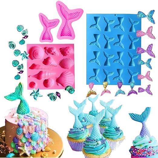 gelatina cupcake fai da te muffa Sugarcraft Decor strumento di cottura decorazione rosa Sirena coda e conchiglia stampi in silicone Candy Mold pezzi//set Szhaiyu cioccolato