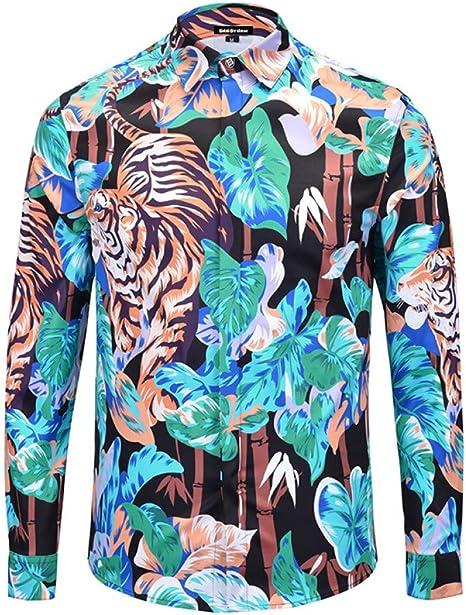 CHENS Camisa/Casual/Unisex/Ropa XL Camisas para Hombres Modas Tigre bambú Hoja de Loto Planta de Manga Larga Camisas Tops un Joven Estadounidense: Amazon.es: Deportes y aire libre