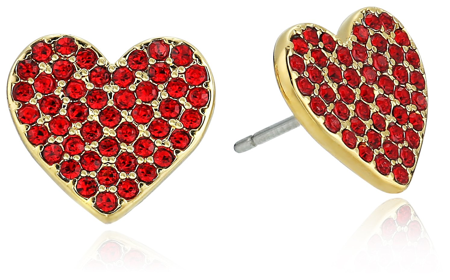 kate spade new york Pave Heart Red Stud Earrings