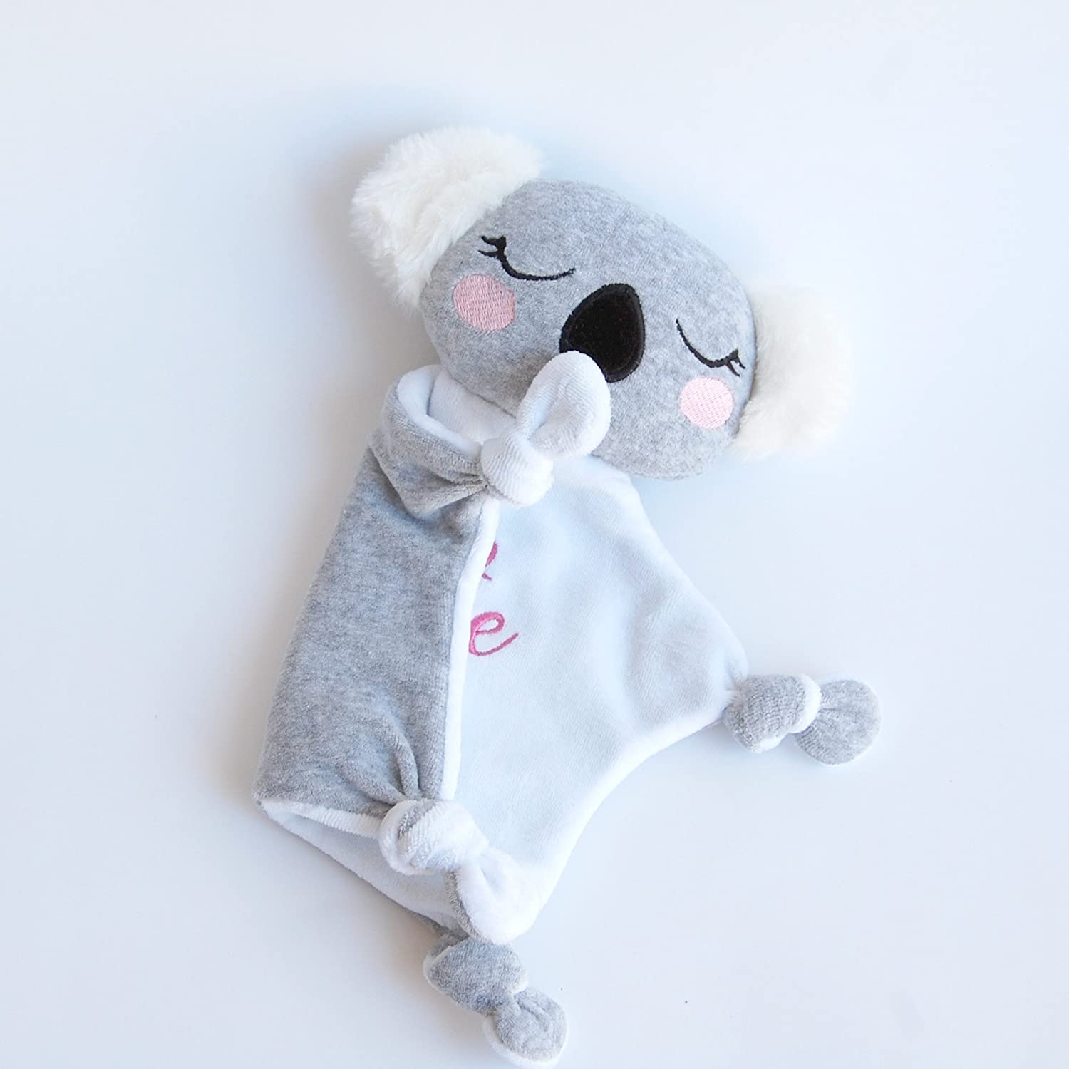 Newborn Baby Toy Comfort Blanket Koala Personalized via Custom Embroidery