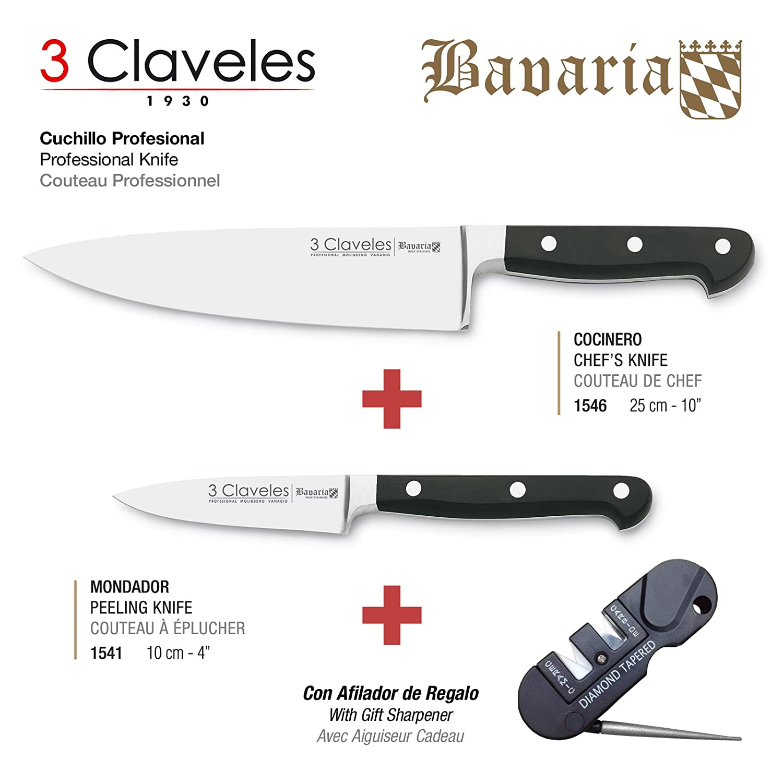 3 Claveles - Pack de 2 Cuchillos Professionales en Acero Inoxidable Molibdeno Vanadio Forjados en Caliente de la Gama Bavaria, Cocinero de 25 cm y ...
