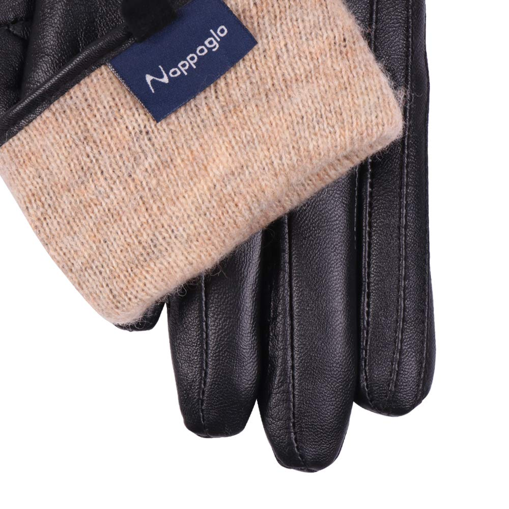 Nappaglo Nappa Leather Gloves Warm Lining Winter Handmade Curve Imported Leather Lambskin Gloves for Women (S, Black) by Nappaglo (Image #6)