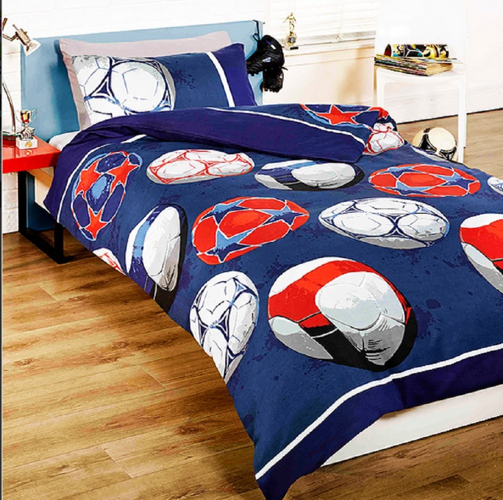 Football (Blue) Children's Rotary Single Duvet Quilt and Pillow Case Bedding Set Generic Duvet Covers