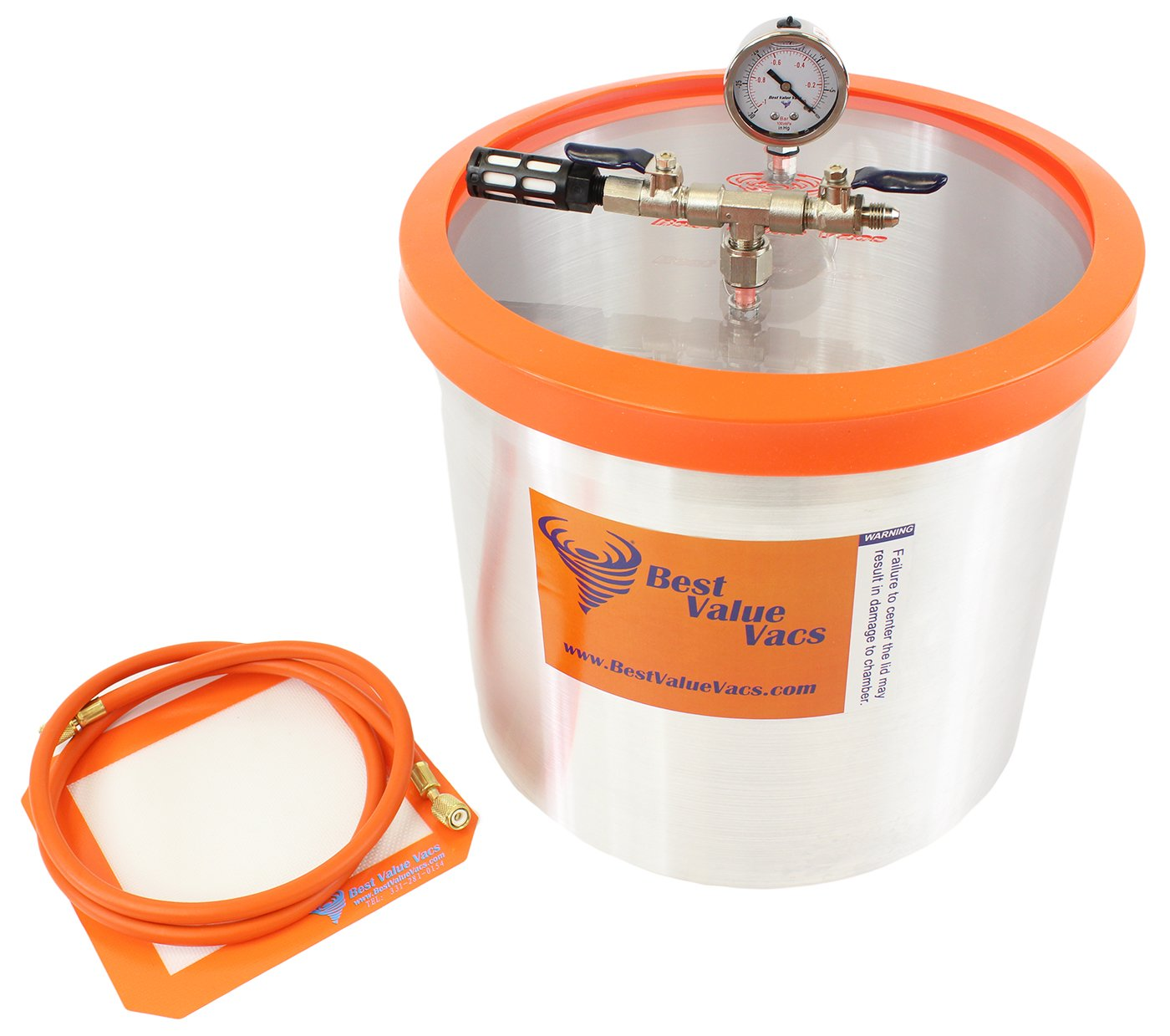 Best Value Vacs 5 Gallon Aluminum Vacuum and Degassing Chamber- Purge, Degas, Silicone, Resin, Epoxy