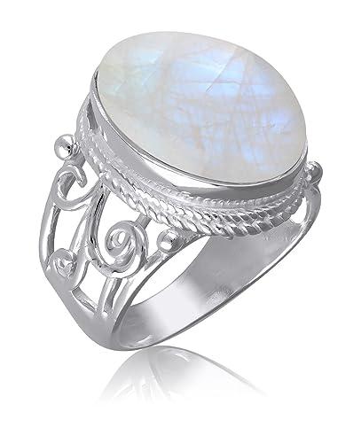 d2539c6d8f37c Cadeau pour ma femme-Bague Pierre de Lune naturelle monture stylisée femme-Bijou  fait