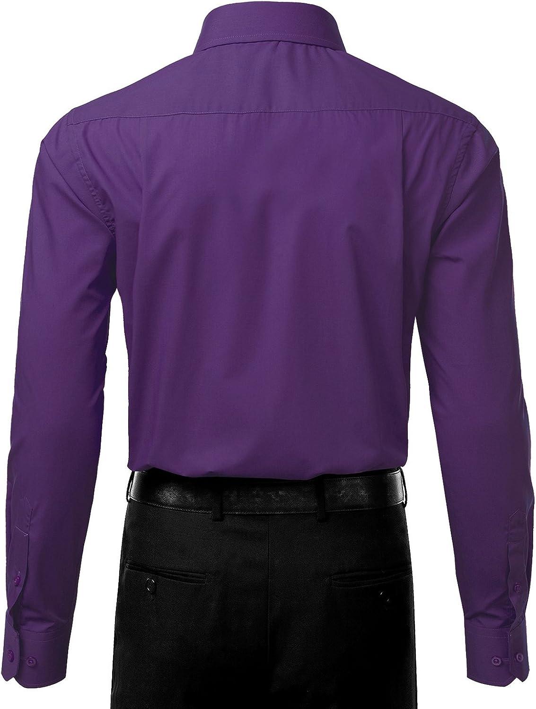 JJ Perfection Mens Button Down Long Sleeve Slim Fit Dress Shirt Purple 17//17.5N36//37S
