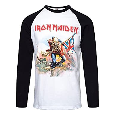 Amazon.com: Iron Maiden T Shirt The Trooper Band Logo Official Mens White Baseball Shirt: Clothing