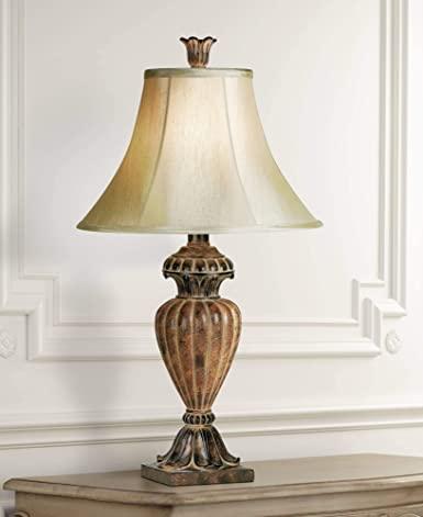 Traditional Table Lamp Urn Two Tone Bronze Off White Bell Shade For