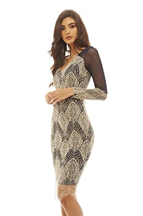 eaf03aed30645 Amazon.com: AX Paris Women's Lace and Mesh Contrast Dress(Navy Nude ...