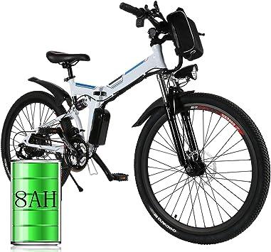 Bunao Bicicleta eléctrica de montaña, 250W, Batería 36V E-Bike Sistema de Transmisión de 21 Velocidades con Linterna con Batería de Litio Desmontable: Amazon.es: Deportes y aire libre