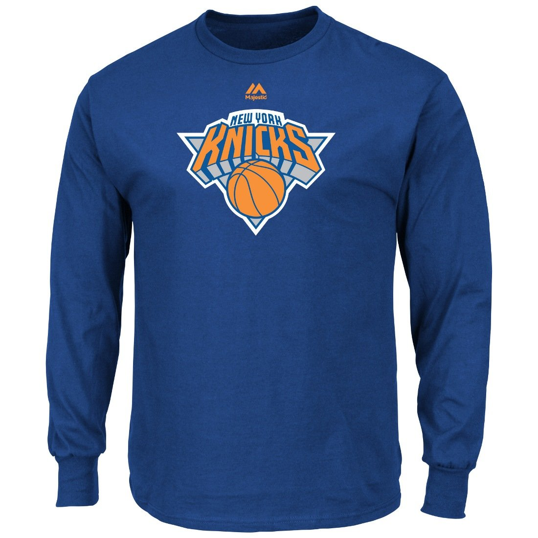 New York Knicks Majestic NBA Supreme Logo Men's Long Sleeve T-Shirt - Blue