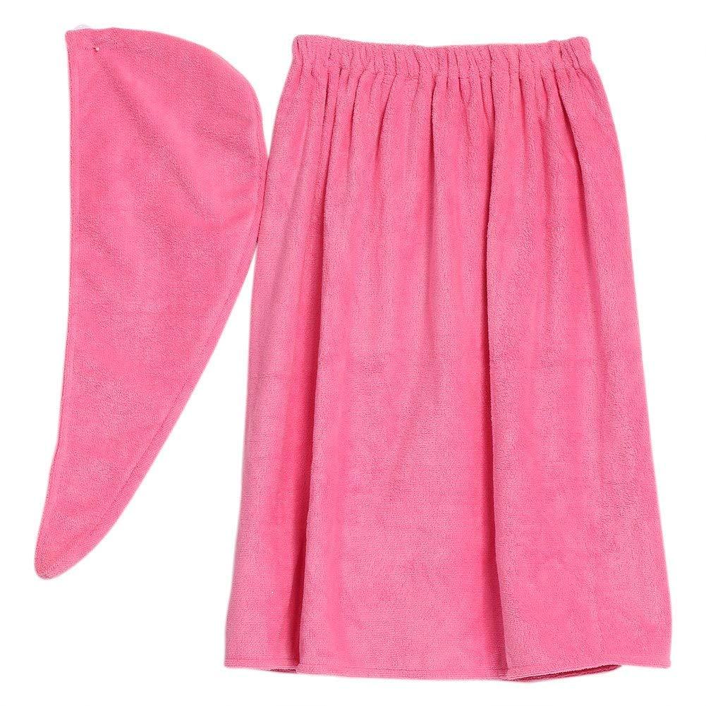 Women's Bath Wrap Set, Adjustable Bathing Bathrobe and Hair Drying Cap Spa Strapless Shower Towel Kits, 35.4 inch/90cm Length (Rose Red)