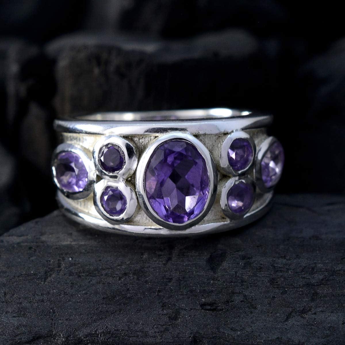 cadeau de la plupart des bijoux pour homme pour donner une bague pierres pr/écieuses Bague am/éthyste facett/ée avec pierres pr/écieuses naturelles argent massif am/éthyste pourpre bague