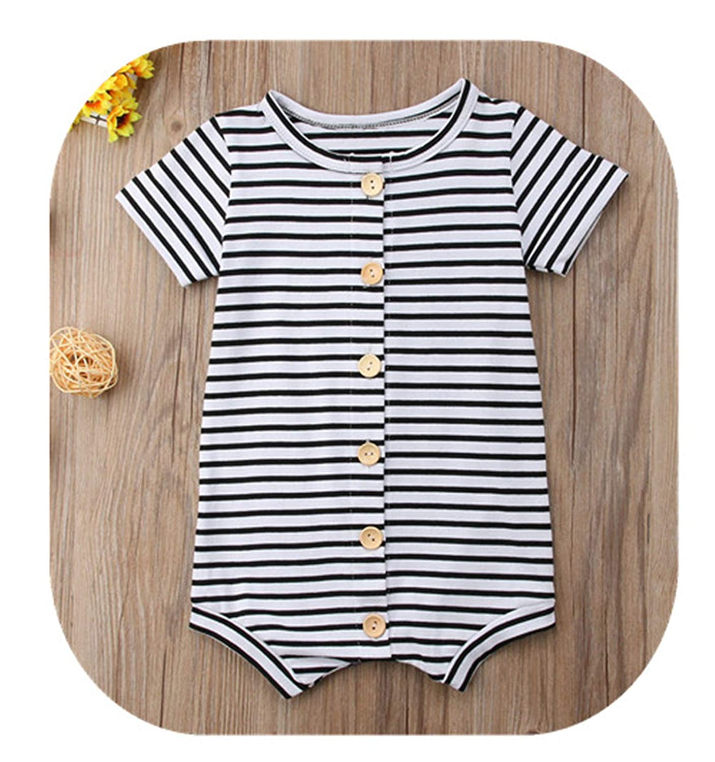 Newborn Toddler Infant Baby Boys Girl Casual Romper Jumpsuit Cotton Short Sleeve Clothes