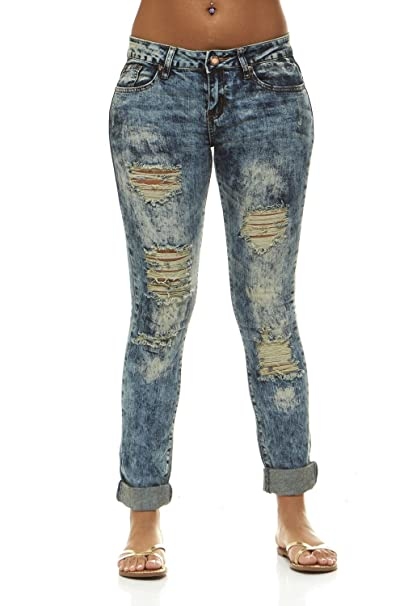 bab68f7a49 Ripped Distressed Skinny Jeans for Women Mid-Rise Jeans Slim fit Womens  Junior Size 1