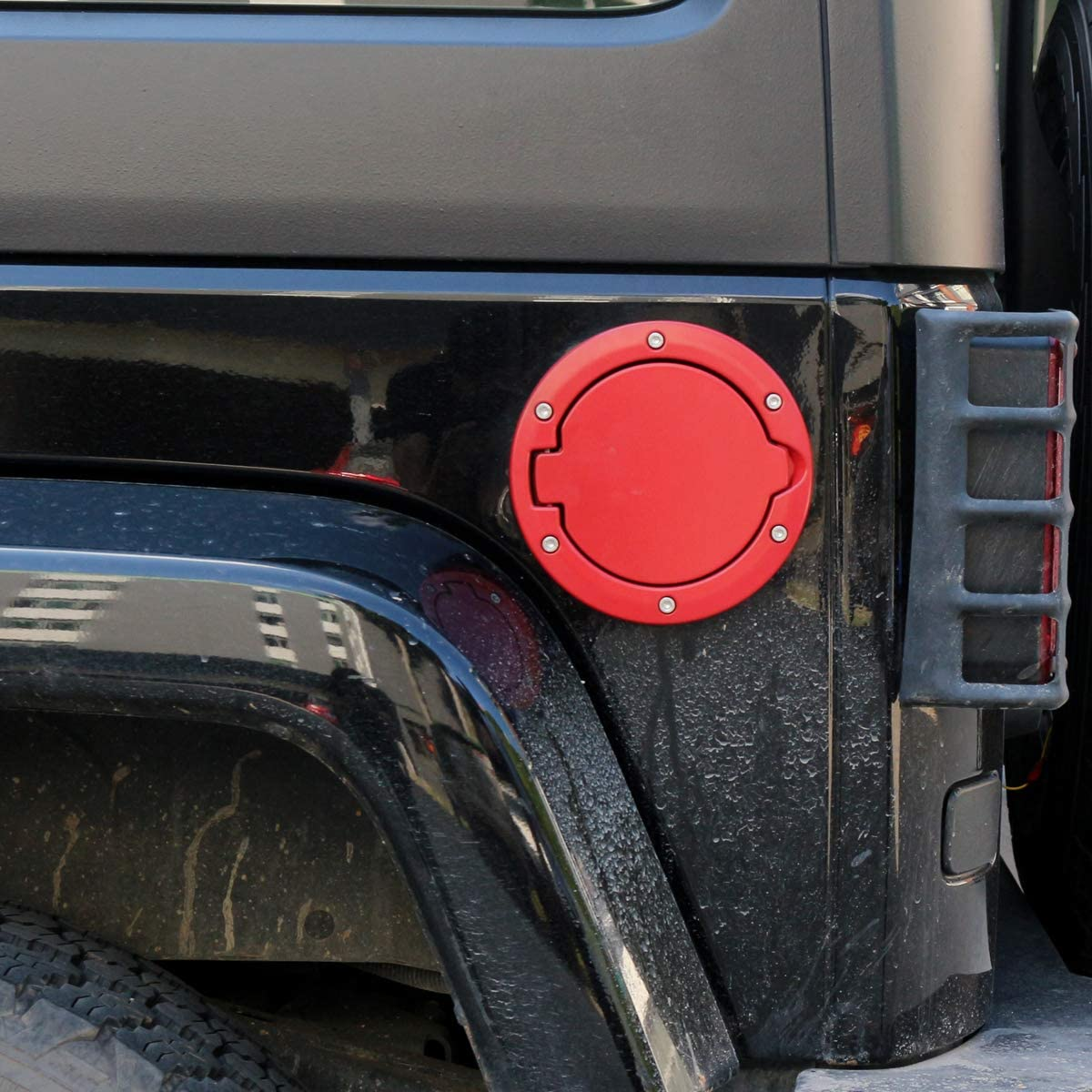 DDUOO Blue Jeep Gas Cap Cover Fuel Gas Door Cover for Jeep Wrangler JK /& Unlimited JK 2007-2017 Sport Sahara Rubicon