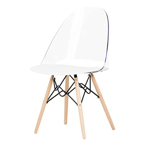 South Shore Annexe Mid Century Modern Eiffel Office Chair Wooden Legs Clear And White