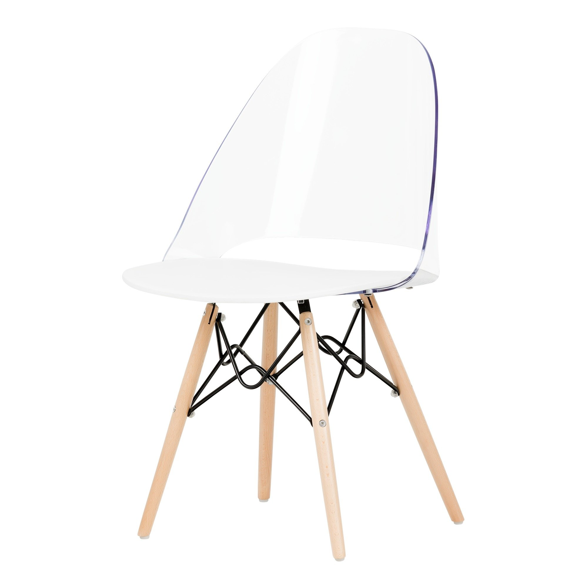 South Shore 100275 Annexe Eiffel Style Office Chair, Clear and White