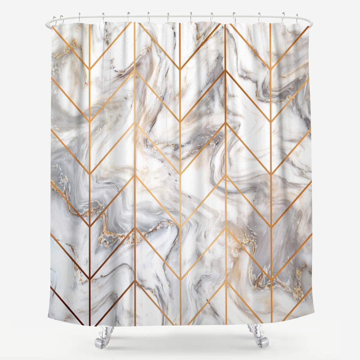 Abstract Golden Geometric Pattern Fabric Shower Curtain Set for Bathroom Decor