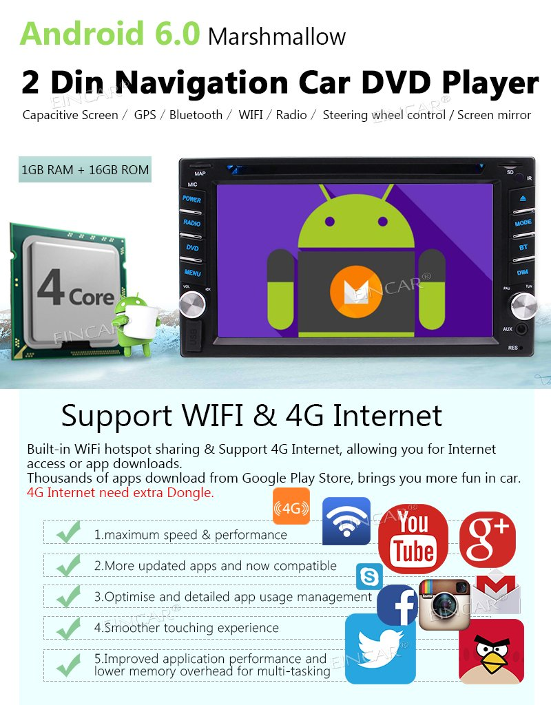 Double 2 Din Head Unit EinCar Android 6.0 Car Stereo with 6.2 Capacitive Touch Screen In Dash Car DVD CD Player GPS Navigation WIFI 4G DVR Bluetooth Autoradio Mirrorlink FM AM RDS Radio Rear Camera