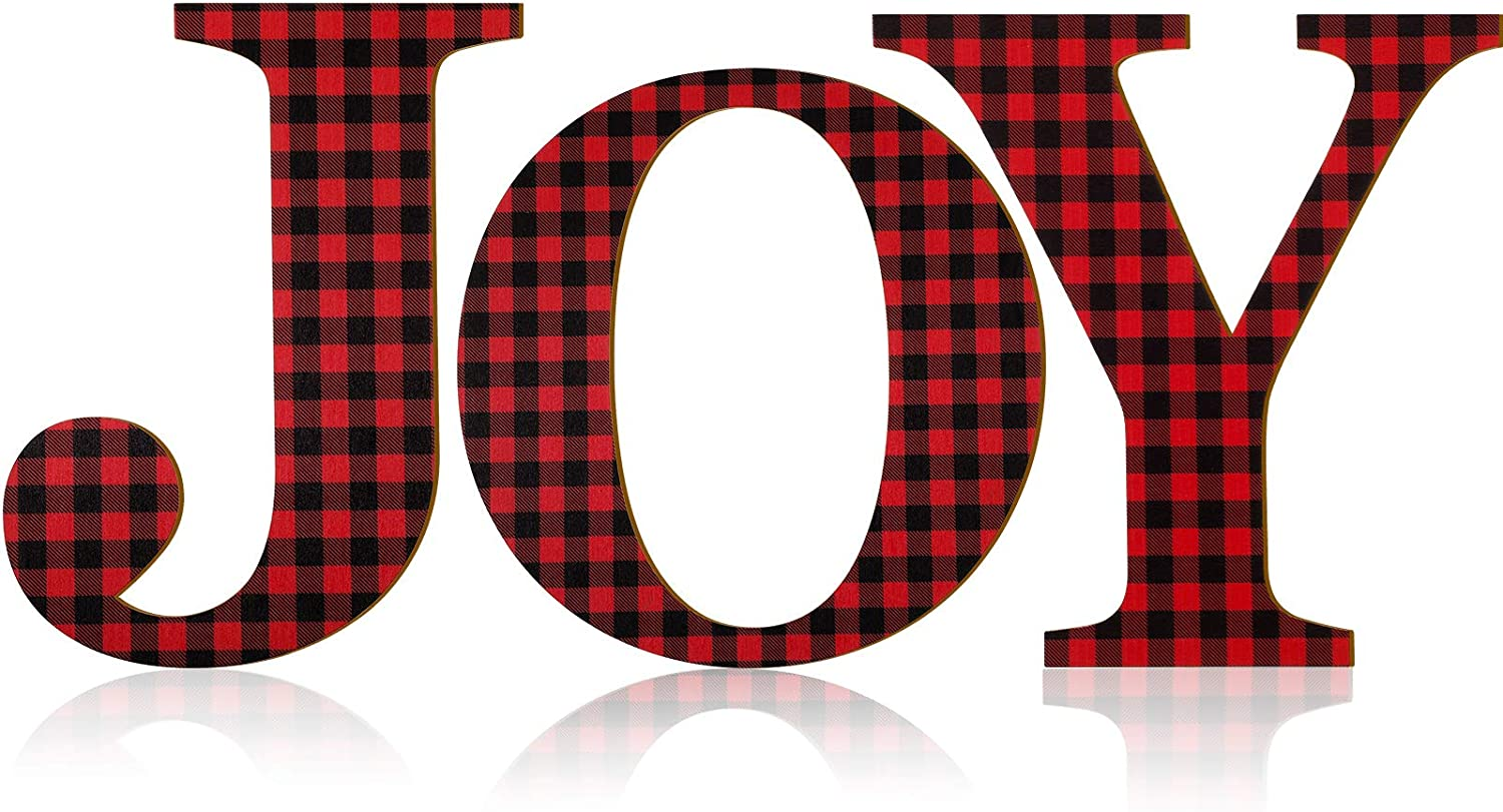 3 Pieces Christmas Joy Letter Sign Buffalo Check Plaid Letter 12 Inch Wooden Large Joy Sign Rustic Wood Letter Ornaments for Front Door Christmas Holiday Indoor Outdoor Home Decor (Red and Black)