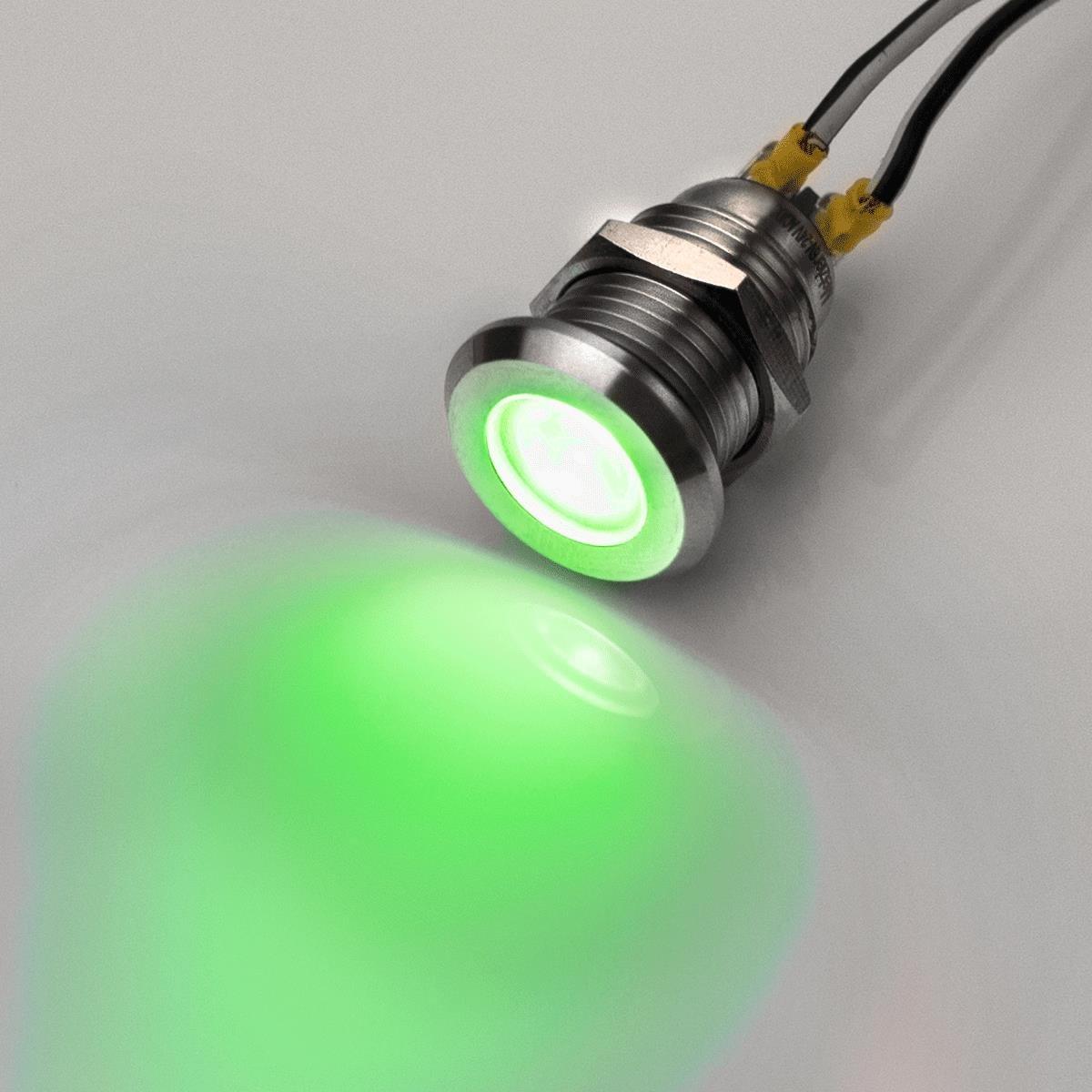 En acier inoxydable Lampe de contr/ôle LED Metzler-Trade CA//CC 6,/V/- 24/V rouge /Étanche IP67/- Filetage M12 Bleu vert blanc blanc jaune V2A
