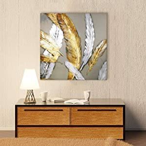 """Fabulous Décor - Extra Large Gold and White Feathers Hand-Painted Artwork Canvas Oil Painting Wall Art for Home Office Decoratio 31.5""""X31.5"""" """""""