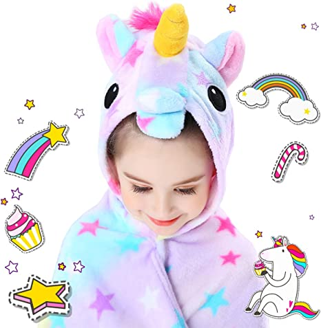Baby Girl Black Unicorn Rainbows Stars Fleece Pink Minky 30 x 35 READY TO SHIP