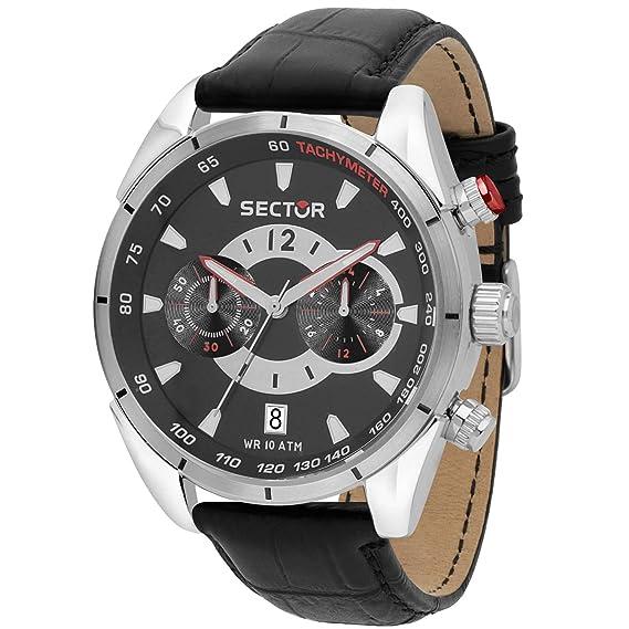 Reloj Sector 330 cronógrafo Hombre Piel Negro r3271794009: Amazon.es: Relojes