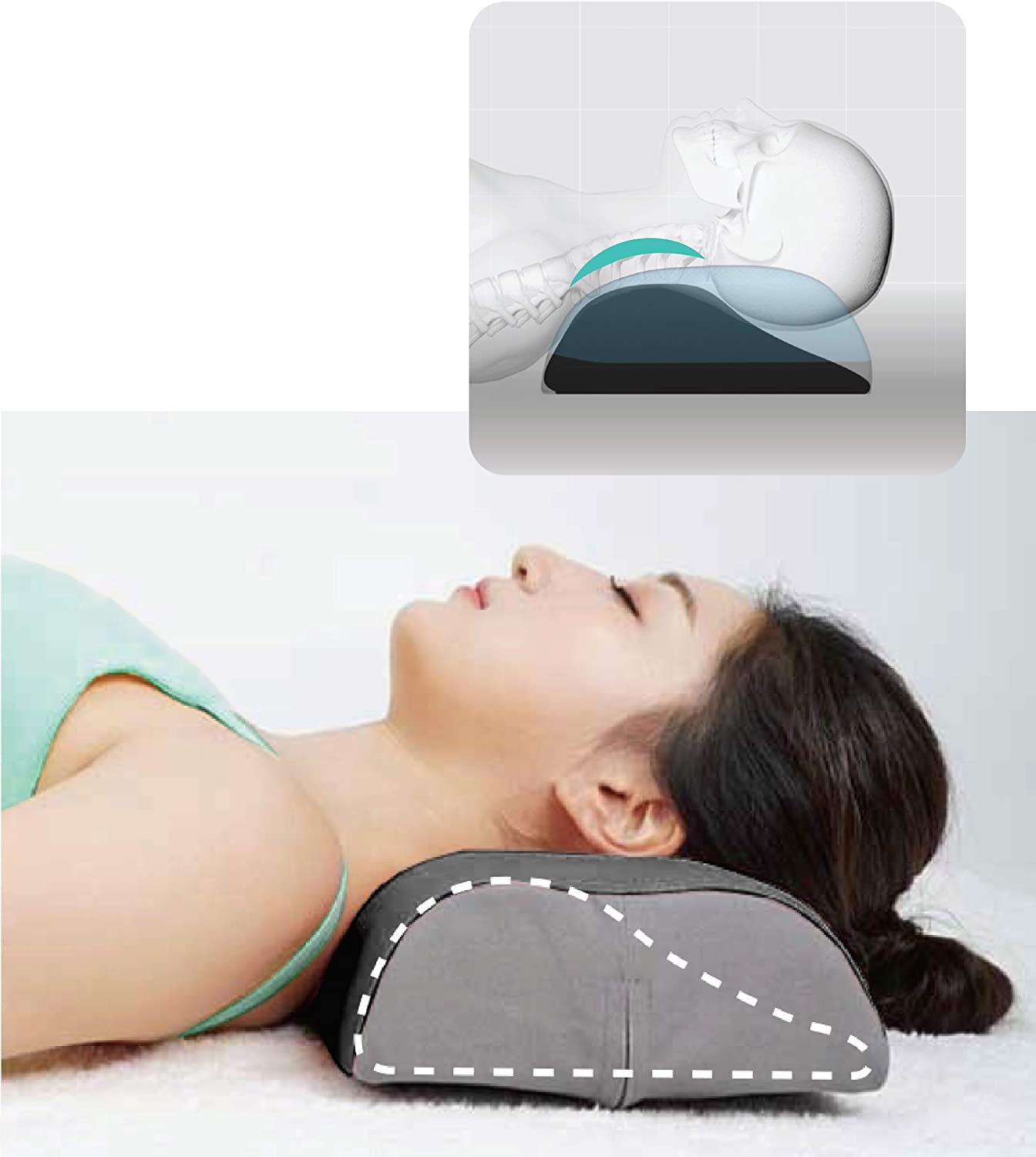 SNPE Neck Support Pillow (Blue) - Neck Pain Relief and Cervical Correction. Chiropractic Hard Memory Form.