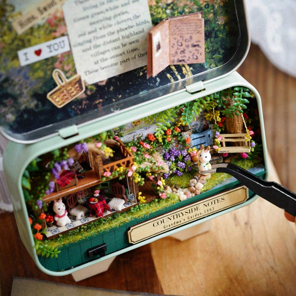 Ramble in Winter DIY Mini Wooden Dollhouse Miniatures 3D Puzzles DreamHouse Handmade Miniature DIY Kit with Furniture LED Best Xmas Gift Birthday gift Childrens day Homework Parent-child Summer