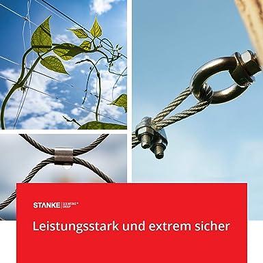 Seilwerk STANKE 15 x Seilklemme B/ügelform aus Edelstahl Inox Gr/ö/ße 4 f/ür 4 mm Drahtseile Rostfrei Seilverbinder