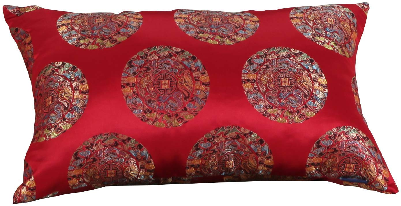 M MOCHOHOME Satin Dragon Square Decorative Throw Pillow Cover Case Pillowcase Cushion Sham - 24'' x 24'', Red