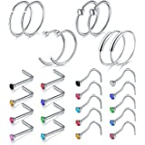 Incaton Nose Rings, 26PCS 20G 316L Surgical Stainless Steel Body Jewelry Piercing Nose Ring Studs