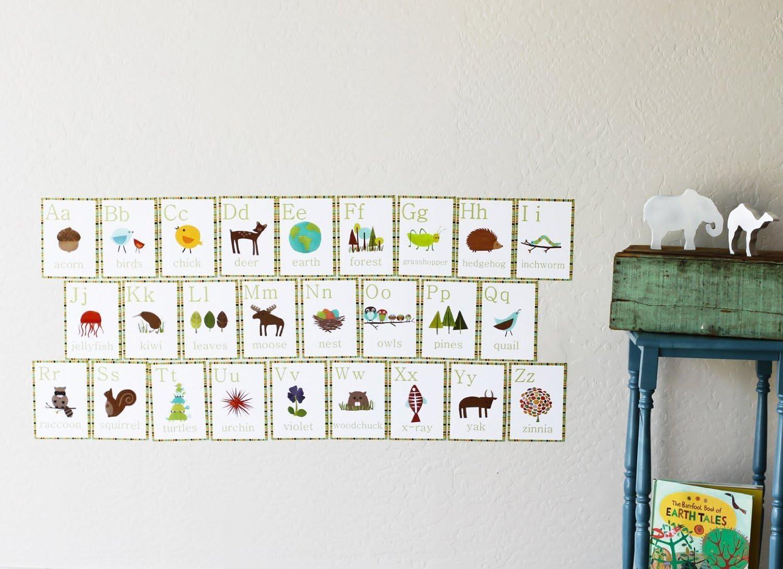 Eco Friendly Nursery Art - Set of 26 Alphabet Wall Cards, Kid's Decor, Nursery Art, Children Design, Alphabet Wall Cards