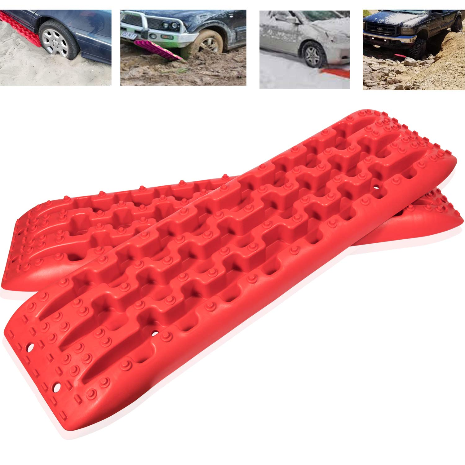 2 pcs Auto Rocovery Traction Mats Tires Traction Boards Tires Ladder For Off-Road Mud,Sand, Snow Vehicle Extraction by Camoo