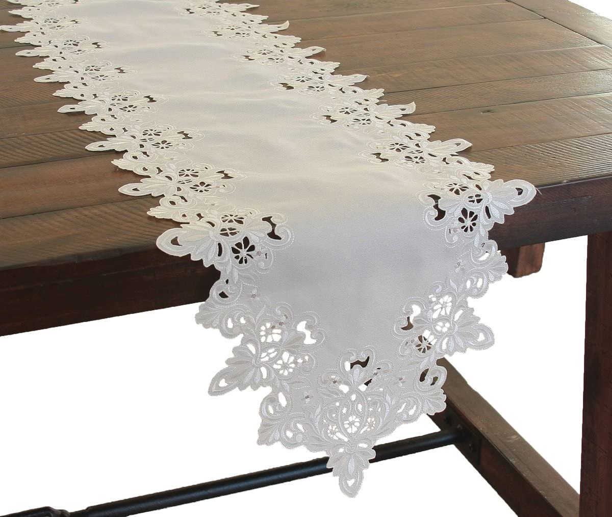 Xia Home Fashions Victorian Lace Embroidered Cutwork Table Runner, 15 by 54-Inch, Taupe