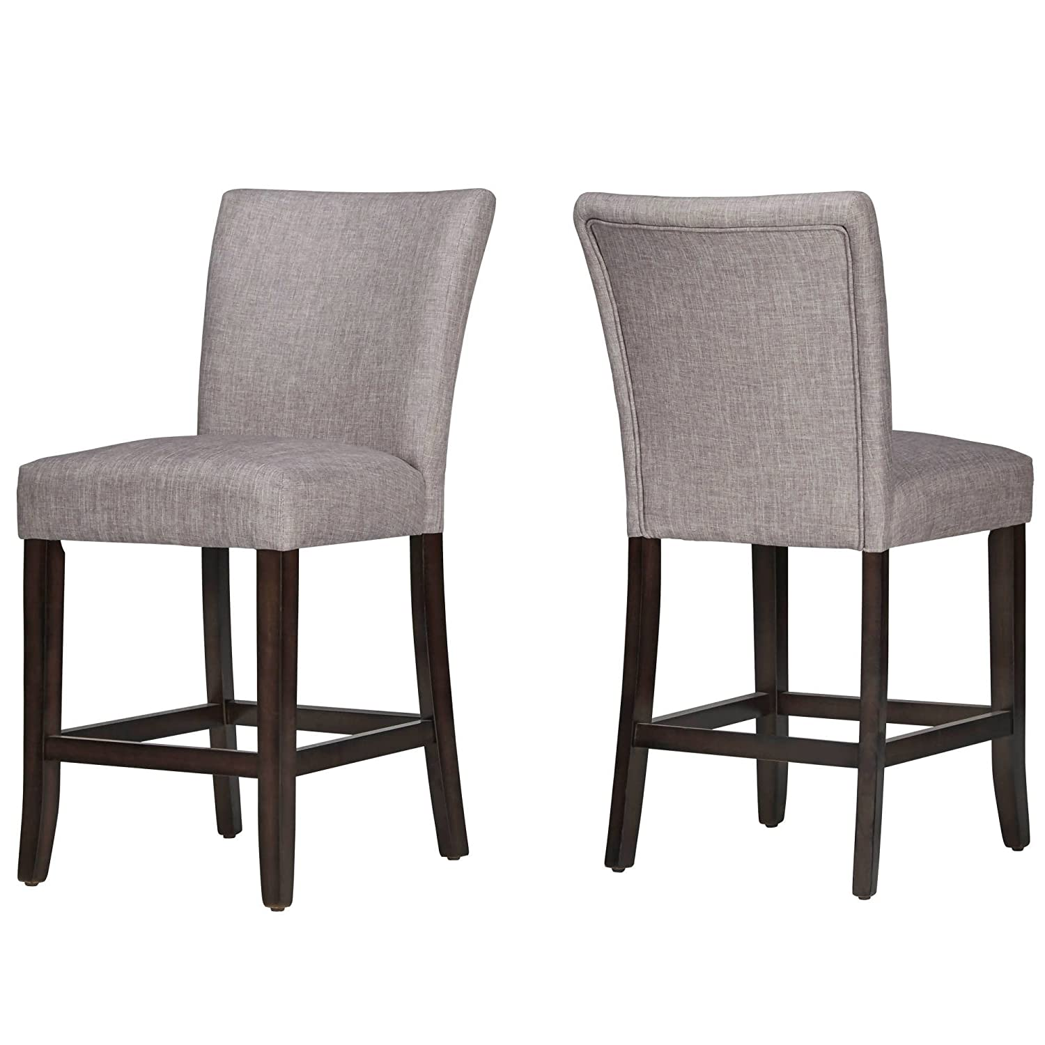 Modhaus living modern classic style wooden legs counter height armless bar chairs espresso finish linen cushioned seats living room decor set of 2