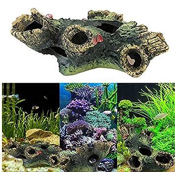 OWIKAR Decoración para acuario, resina, árbol de madera muerta, decoración de peces,