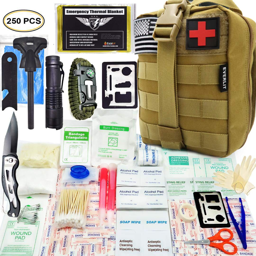 EVERLIT 250 Pieces Survival First Aid Kit IFAK Molle System Compatible Outdoor Gear Emergency Kits Trauma Bag for Camping Boat Hunting Hiking Home Car Earthquake and Adventures (Tan) by EVERLIT (Image #1)