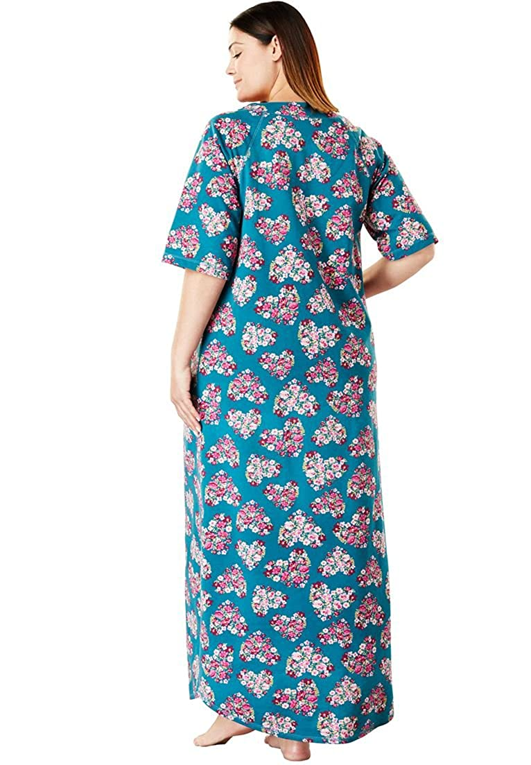 84d659d4e37 Dreams   Co. Women s Plus Size Long French Terry Zip-Front Robe - Multi  Hearts